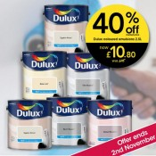 Brighten things up at Wilko with 40% off Dulux paint. Offer